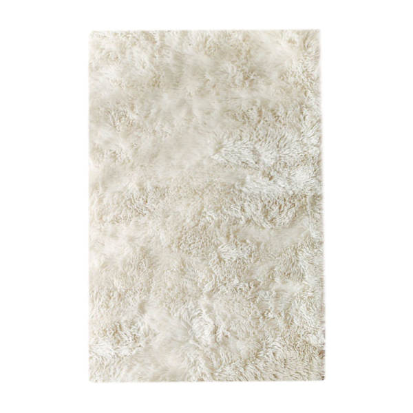 فرش ماشینی مدل شگی طرح رویال زمینه شیری