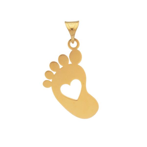 آویز گردنبند طلا 18 عیار زنانه دُرج طرح پای نوزاد مدل DP49