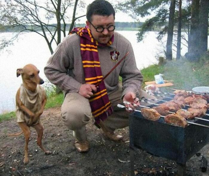 هری پاتر و سگ عجیبش در حال کباب کردن!
